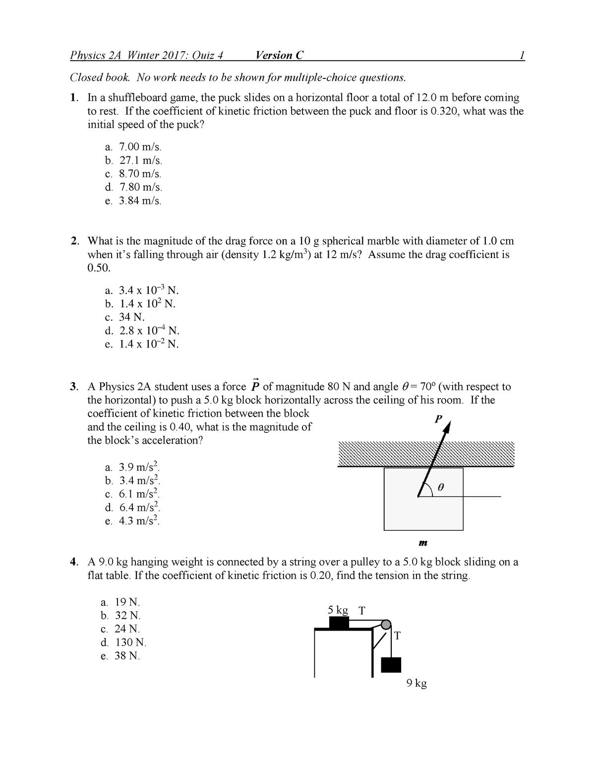 Exam 2017 - PHYS 2A: Physics - Mechanics - StuDocu