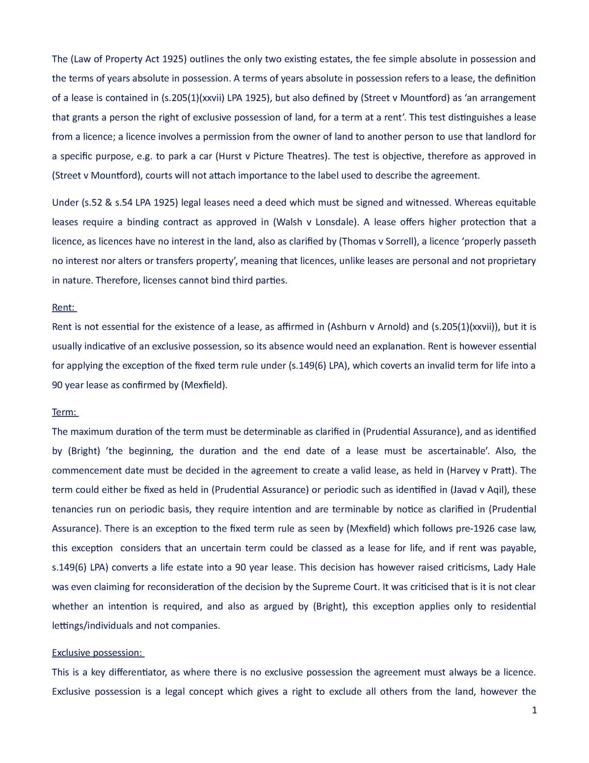 Lease V License Essay Land Law Law2017 Exeter Studocu