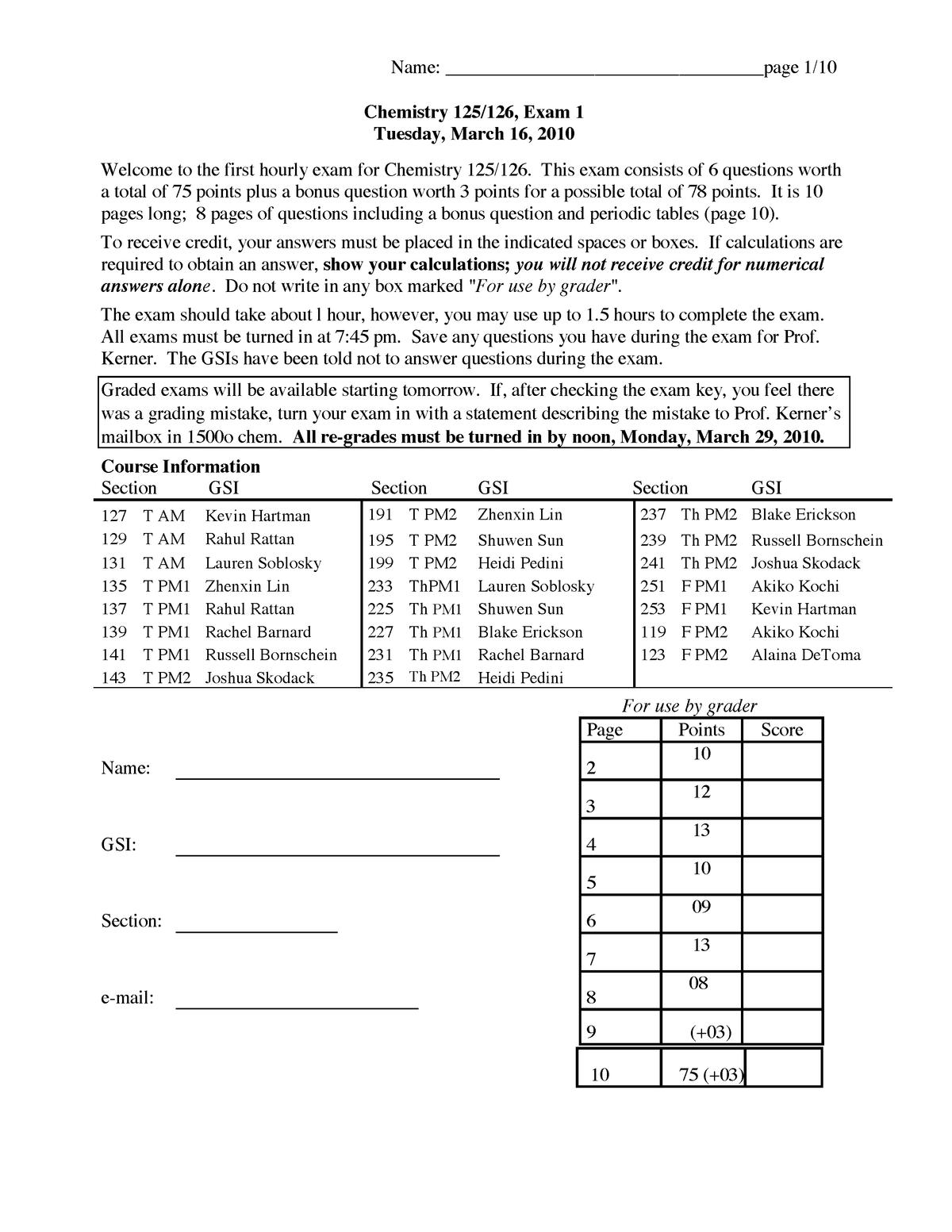 Exam 2011 - CHEM 125: General Chemistry Laboratory I - StuDocu