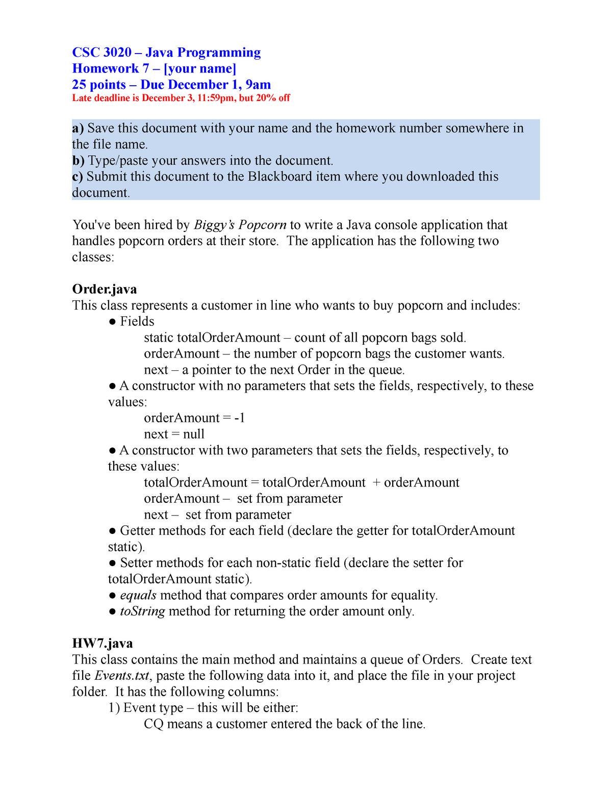 CSC3020 Dan O Homework 07 Key - CSC 3020: Java Programming - StuDocu