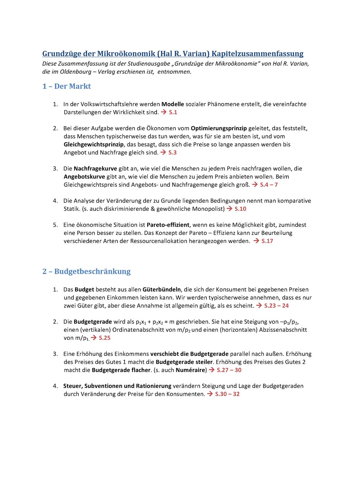 Hal Varian Zusammenfassung Der Kaptitel Mikroökonomie Pö2a