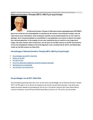 Ongekend RET van Ellis - Rationeel Emotieve Therapie (RET) - - StuDocu YK-31