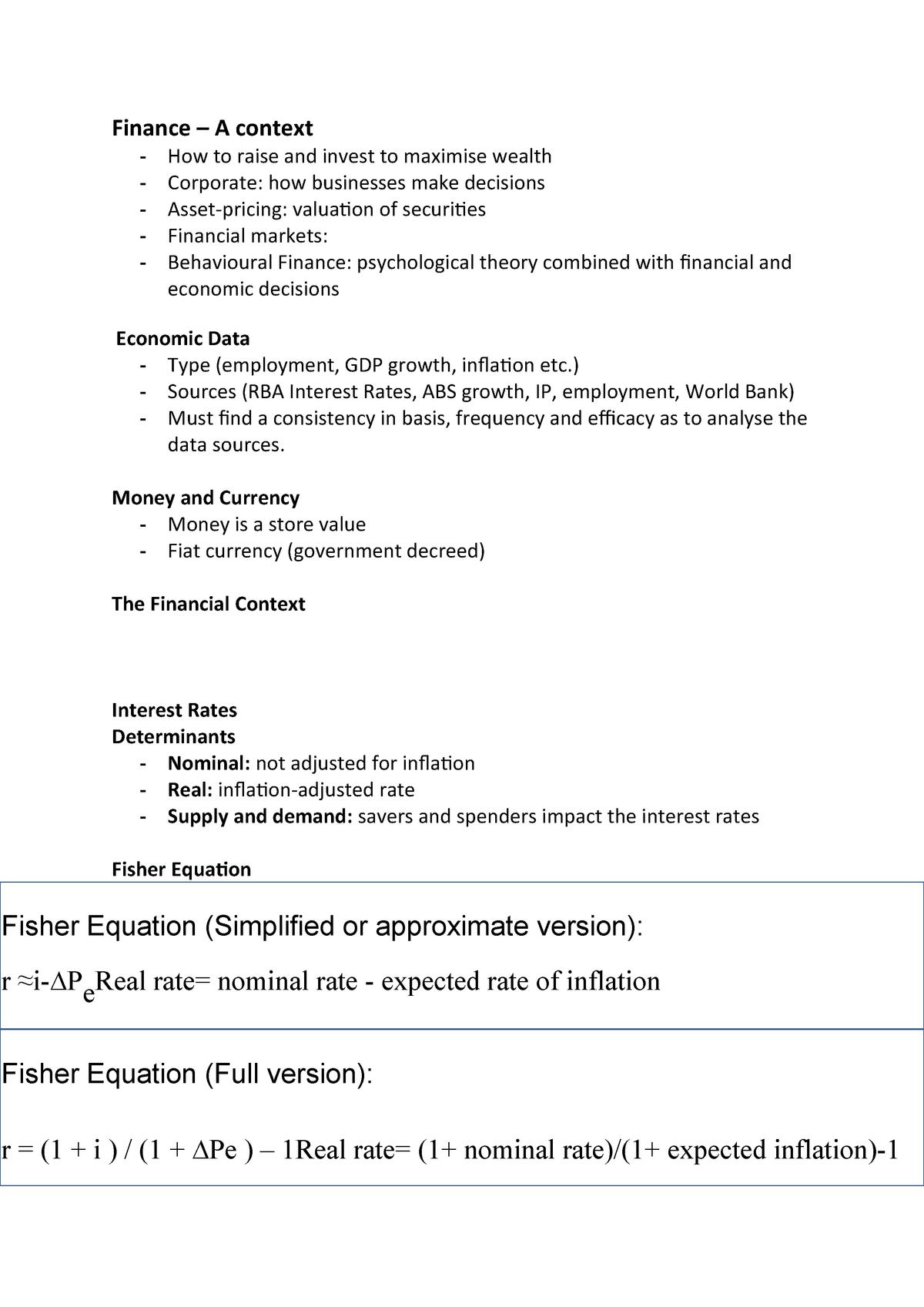Finance L1 notes - ACST101 - MQ - StuDocu