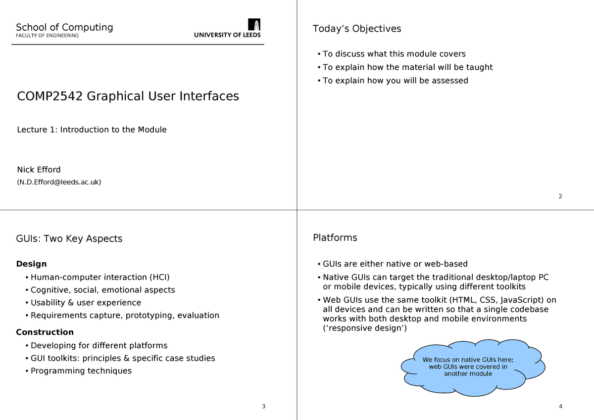 Lecture slides, lectures 1-17 - COMP2542: Graphical User Interfaces