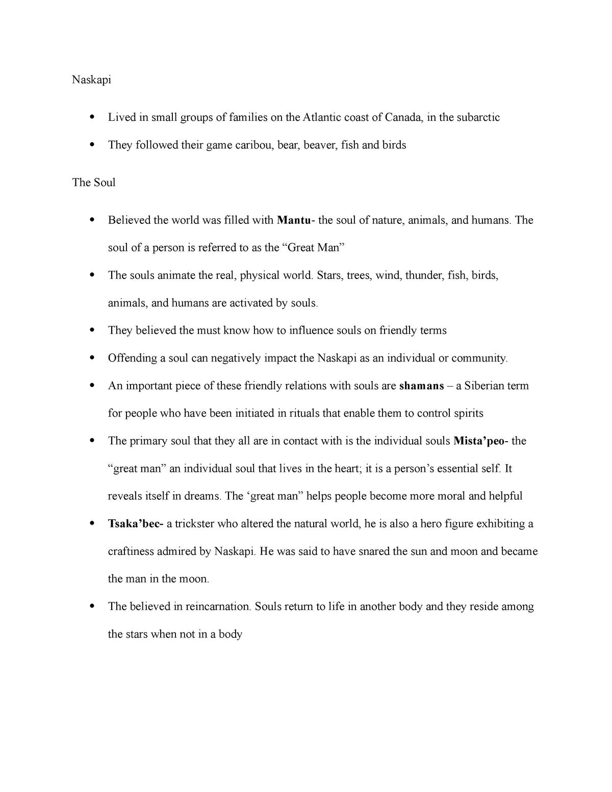 Naskapi - Lecture notes 4 - REL 1220 World Religions - StuDocu