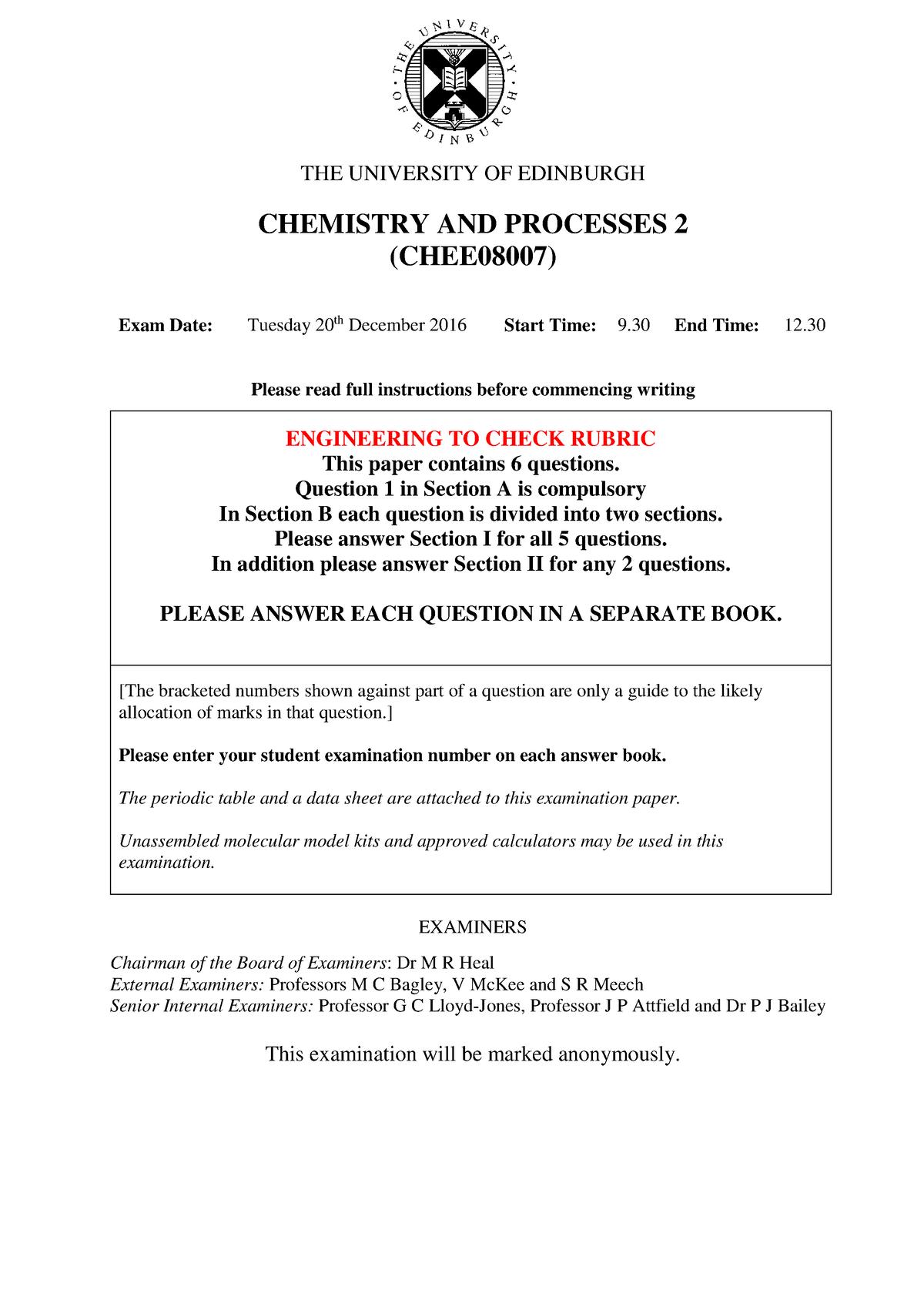 Exam 2016 - CHEE08007: Chemistry and Processes 2 - StuDocu