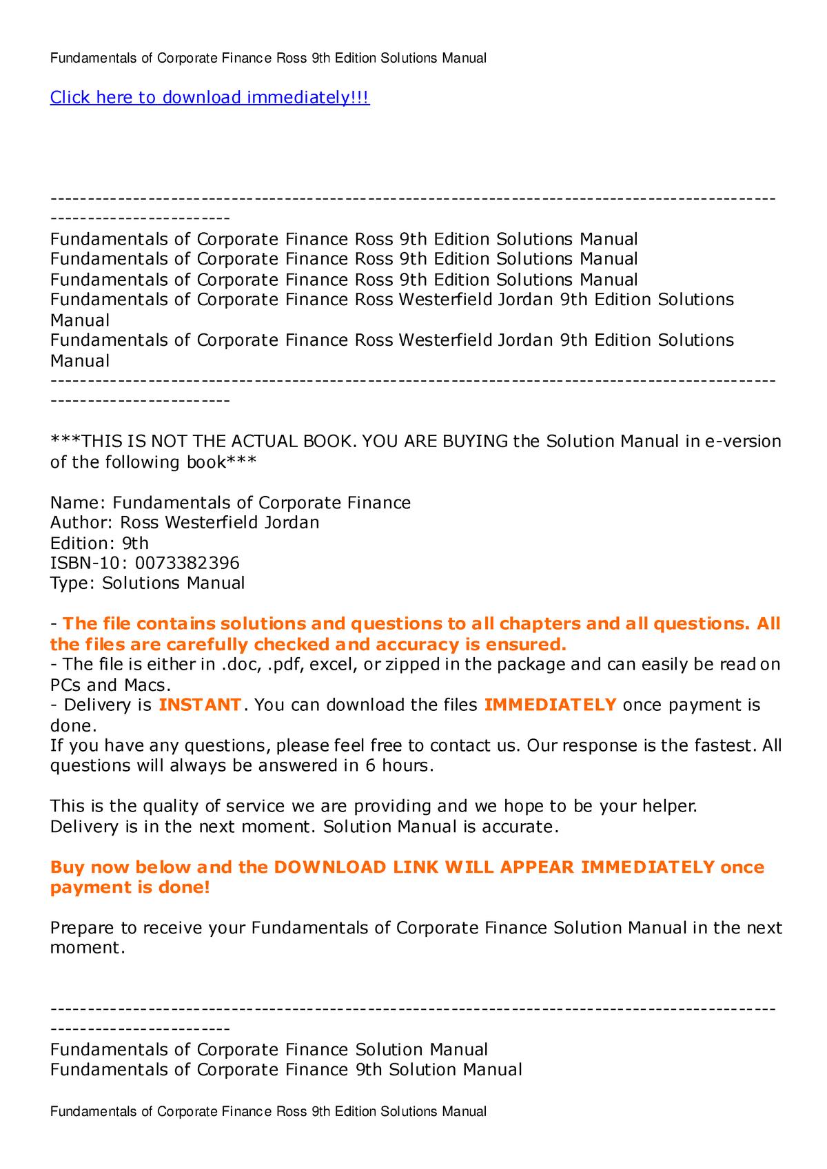 Fundamentals of Corporate Finance Ross 9 - cp3 - StuDocu