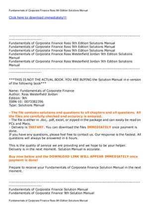 Fundamentals of Corporate Finance Ross 9 - cp3: Finance - StuDocu