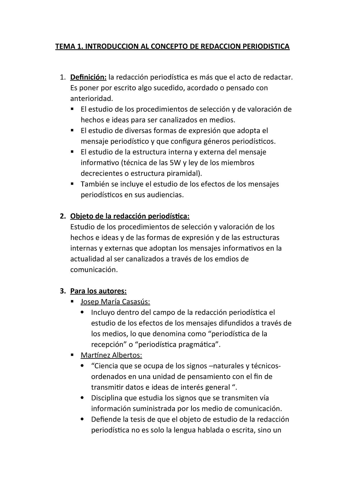 Temas 1 3 Redacción Periodística 41331 Uva Studocu