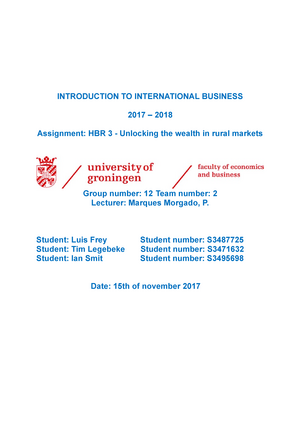HBR-3 - mark = 9 - EBP003A05: Introduction to International Business