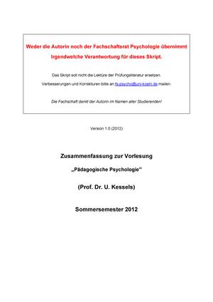 Unterricht Notizen, Unterricht 1 - Vorlesungsskript von Prof. Dr ...