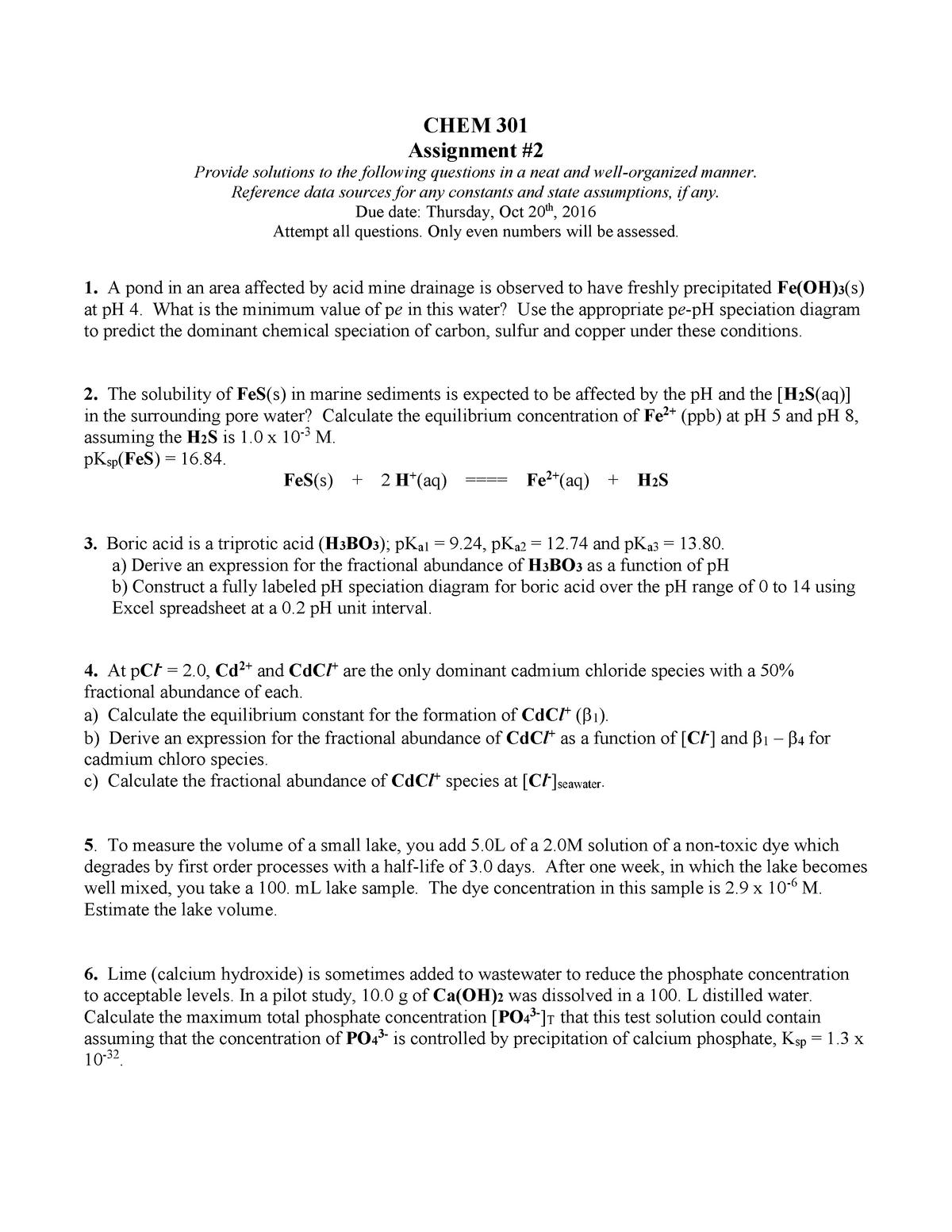 Assign 2 2016 - CHEM301: Aqueous Environmental Chemistry