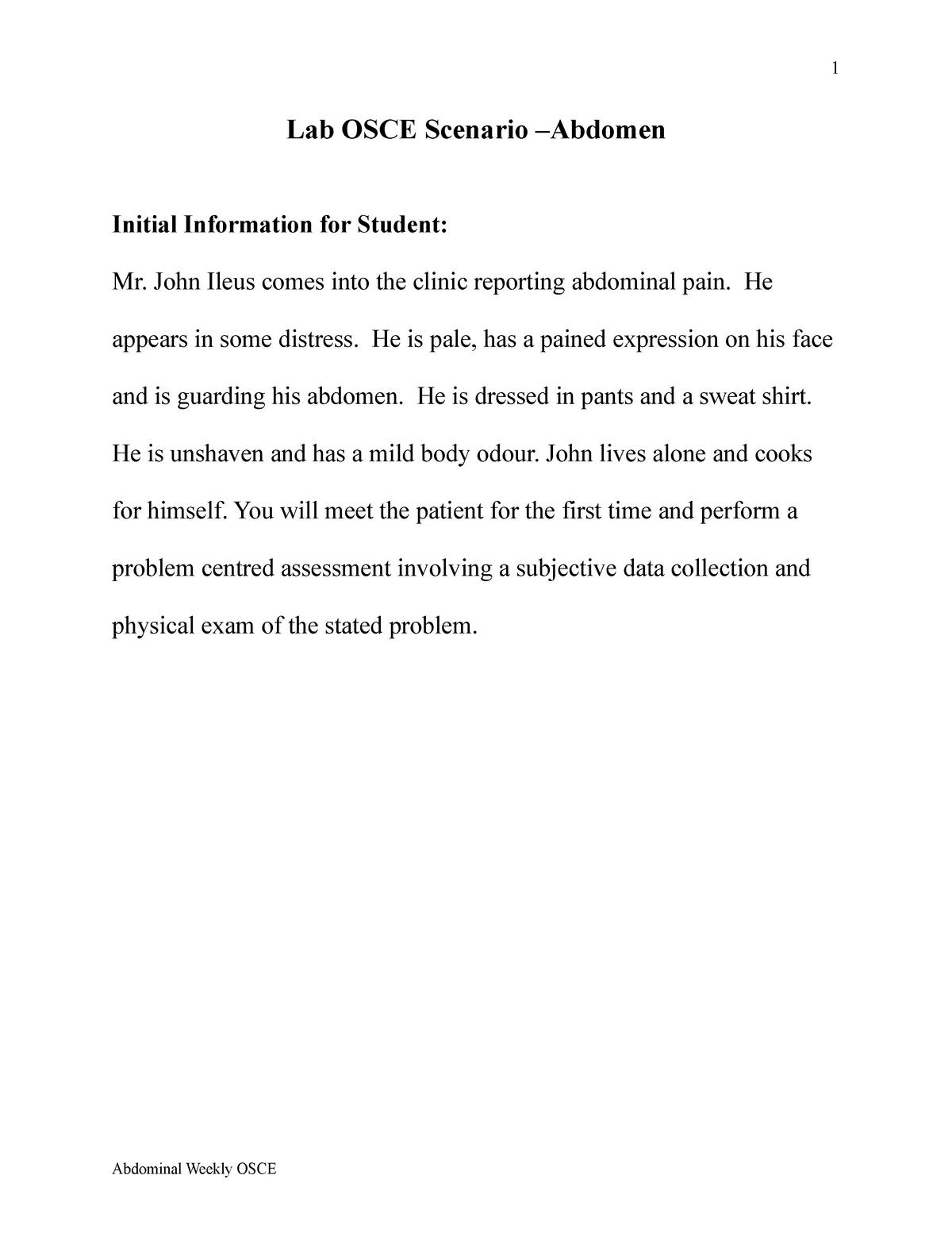 Practical - Prof  Bornais, Lab Osce Scenario –Abdomen - StuDocu