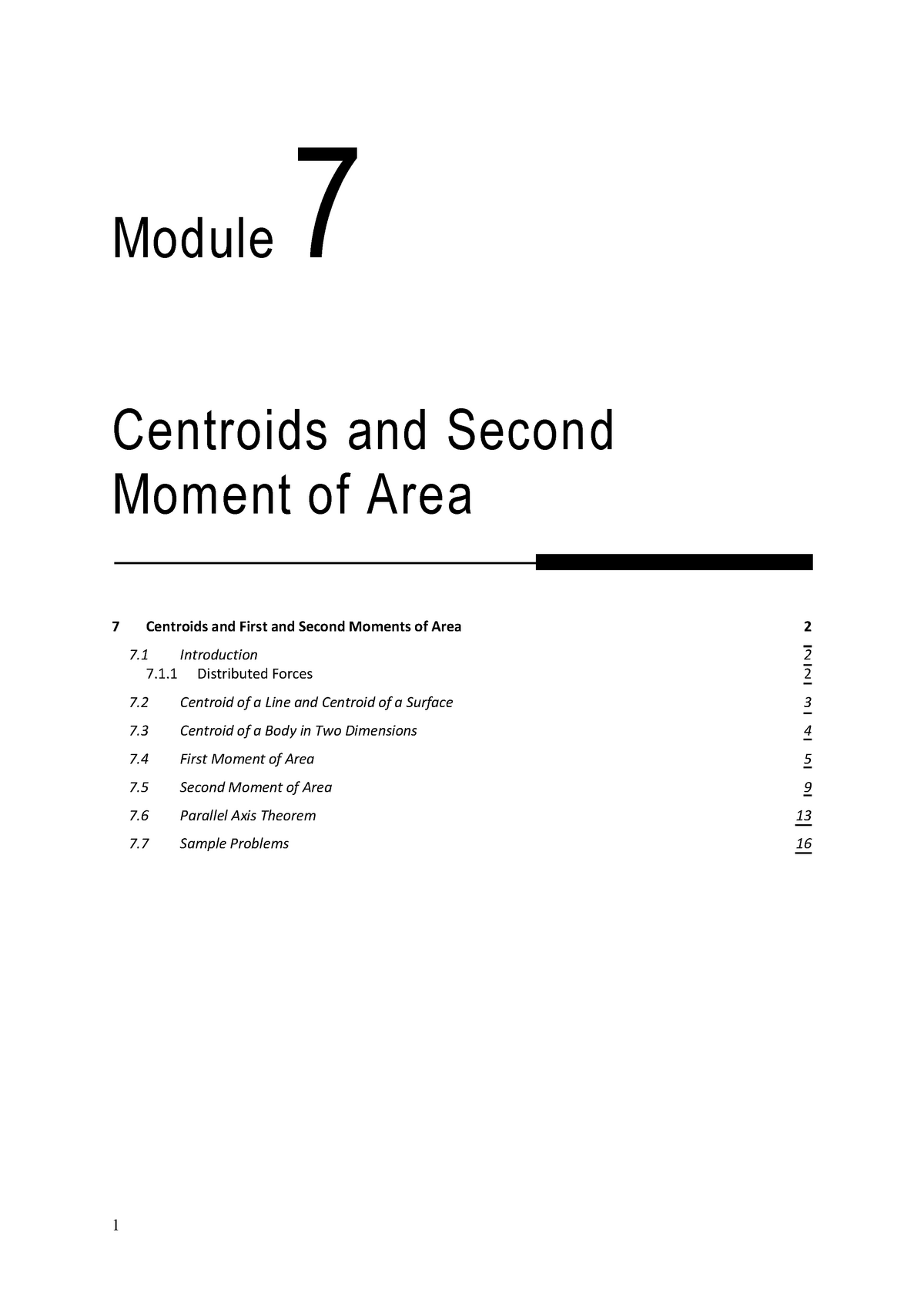 Revised 24 June 2014- Module 7 Centroids and 2nd Moments of