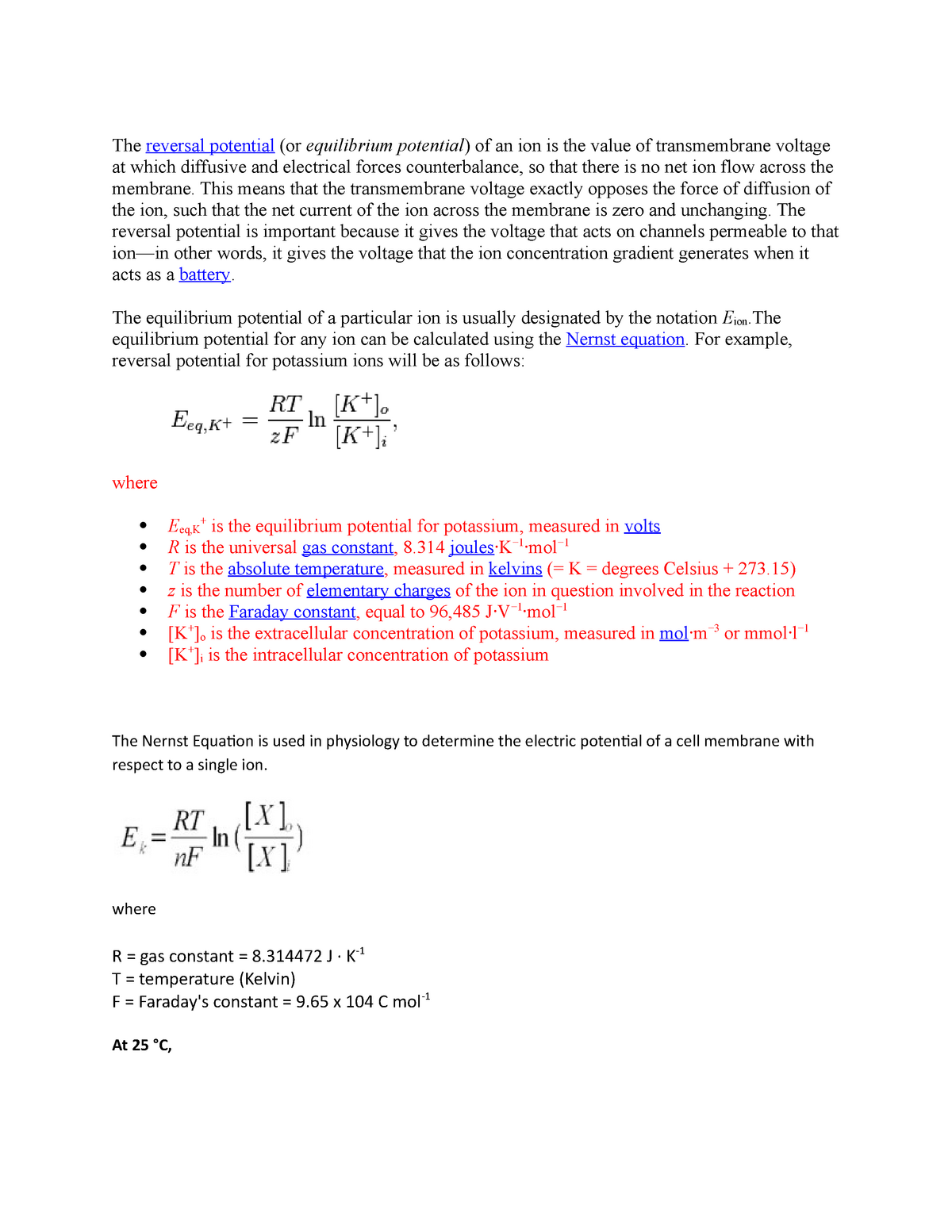 Nernst equation - Lecture notes Cell Biology lecture notes - BIO