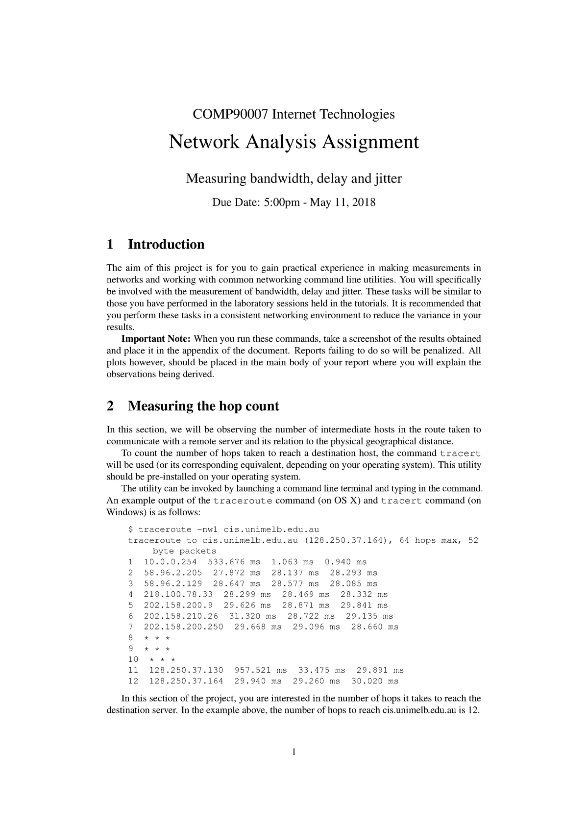 Network Analysis 2018 Sem 1 - COMP90007: Internet