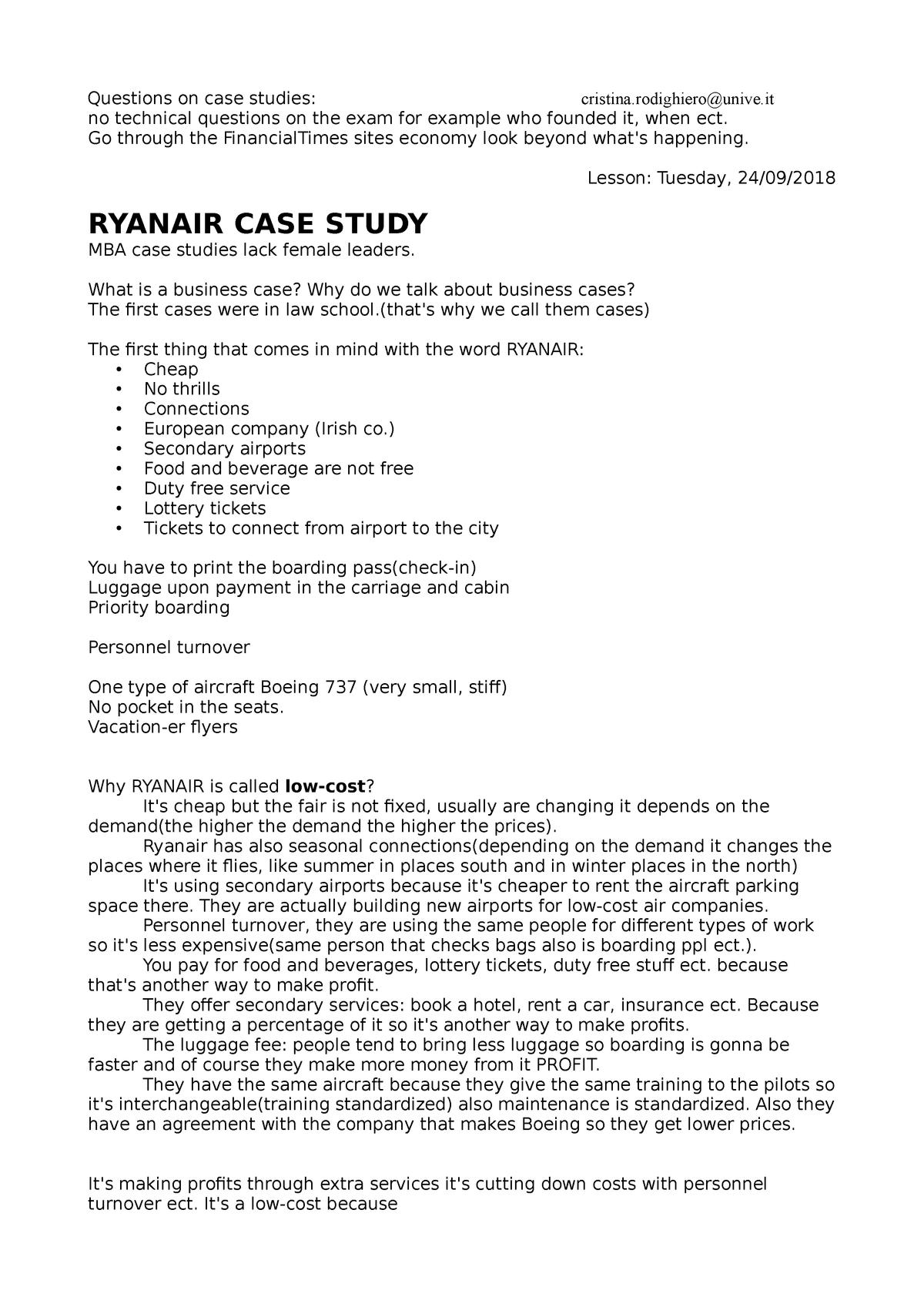 Summary: Case studies - ET0078 - Unive - StuDocu