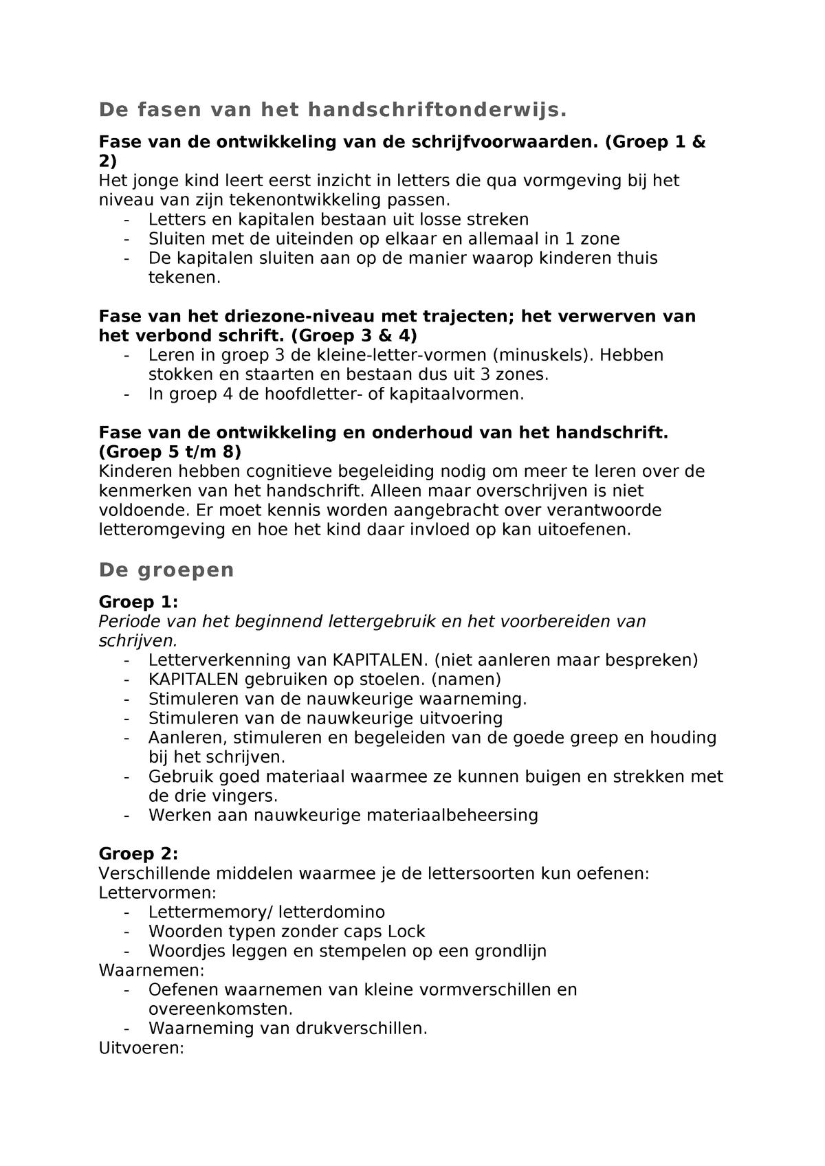 Betere De fasen van het handschriftonderwijs - Vk1.3.schr - CHE - StudeerSnel YT-35