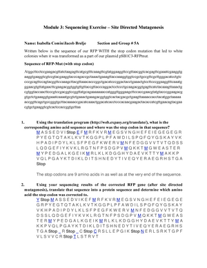 RFP Sequencing Exercise - BCH 406: Biochemistry Lab - StuDocu