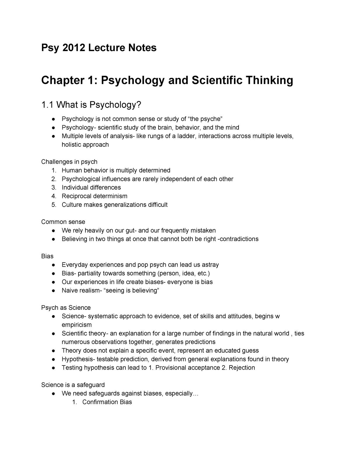PSY2012 Lecture Notes - PSY 2012: General Psychology - StuDocu
