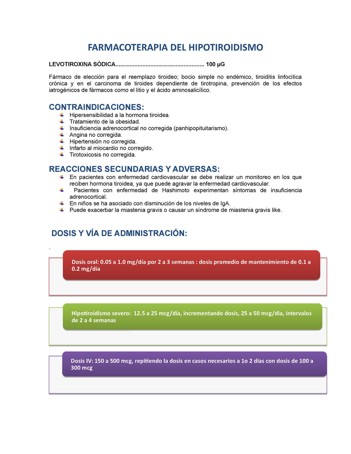 síntomas de ajuste de dosis de levotiroxina de diabetes