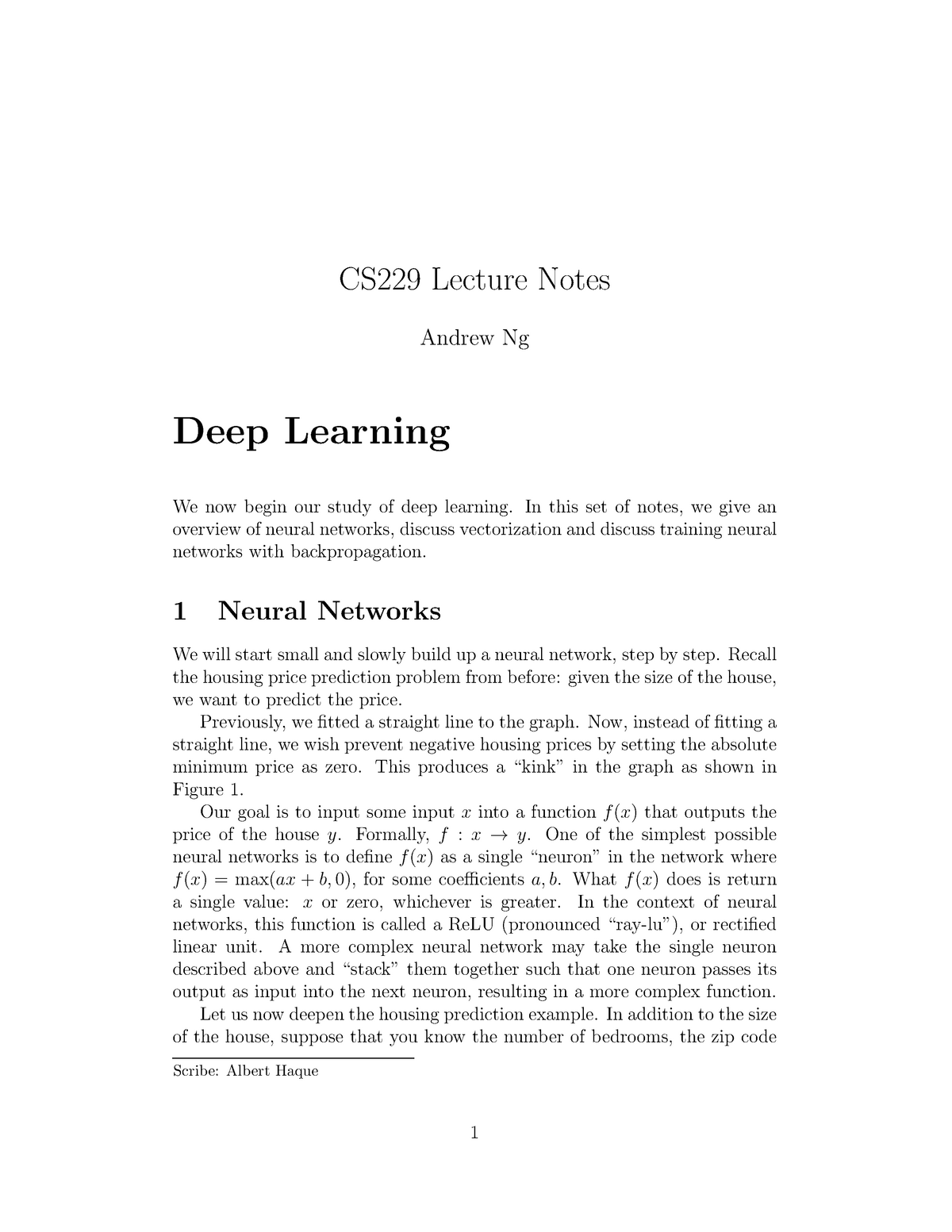 Cs229-notes-deep learning - CS 229: Machine Learning - StuDocu