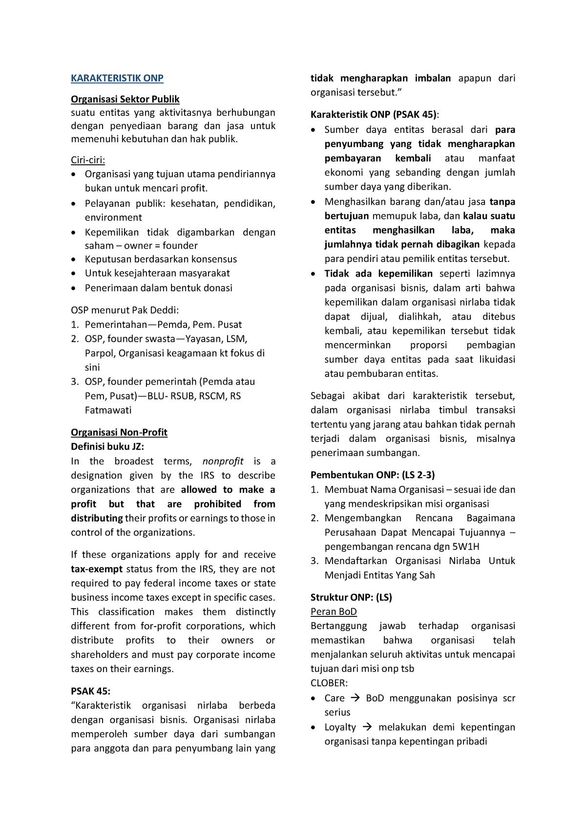 Mid Term Summary Akuntansi Organisasi Nirlaba Ecau606102 Studocu