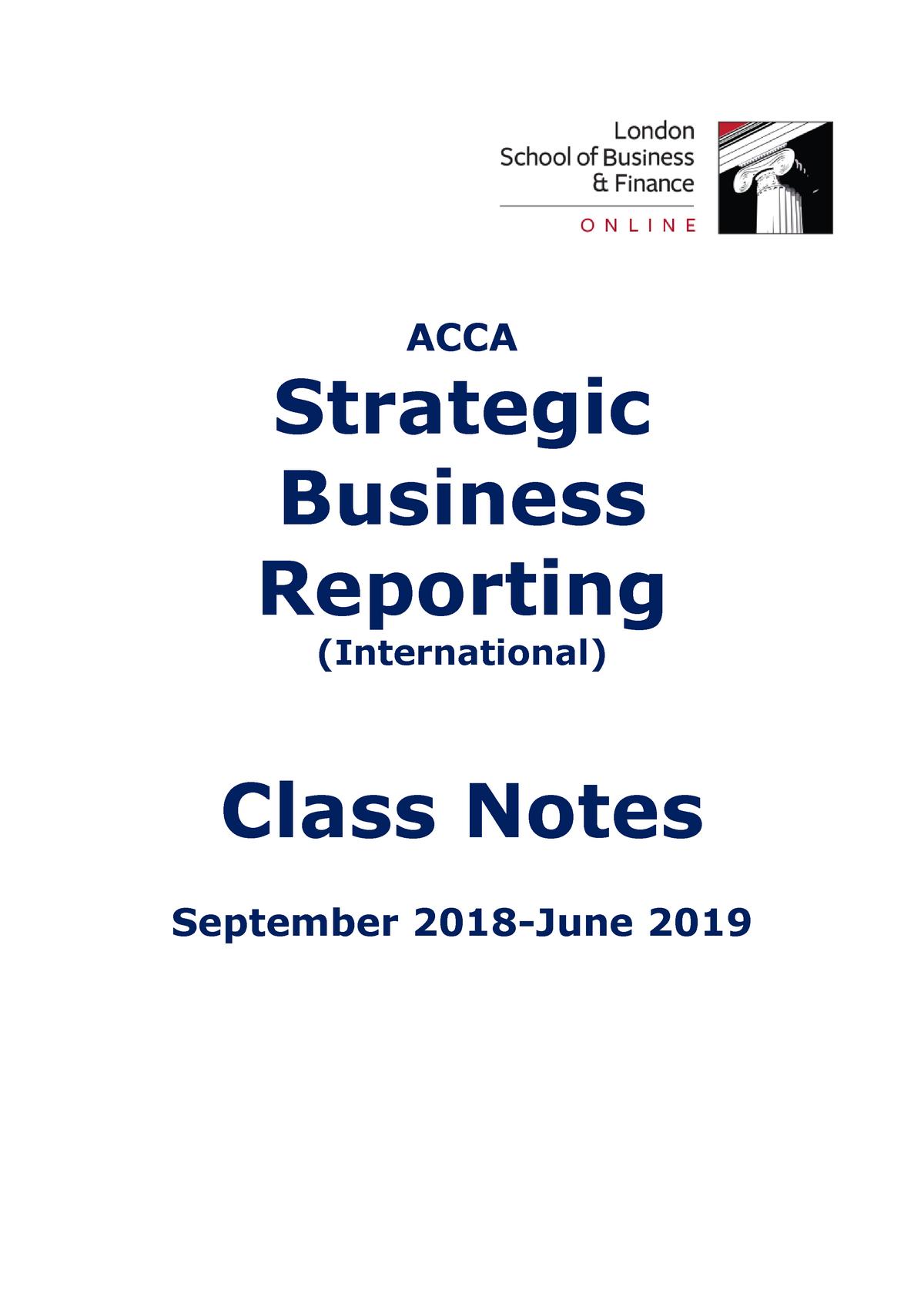 ACCA LSBF SBR - Class Notes - September 2018 June 2019 - StuDocu