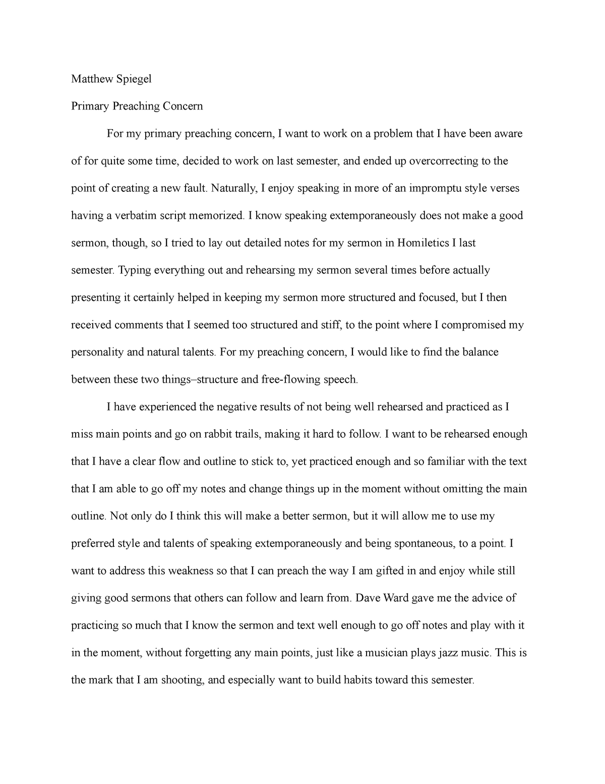 Primary Preaching Concern Paper - YTH-366: Preaching to Youth - StuDocu
