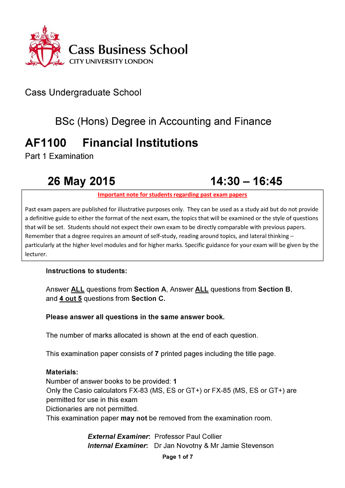 Exam May 2015, questions - Financial Institutions AF1100
