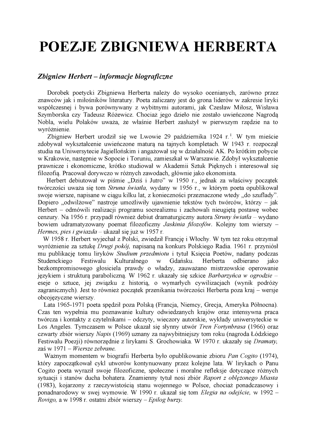 Herbert Poezja Filologia Polska Uwm Studocu