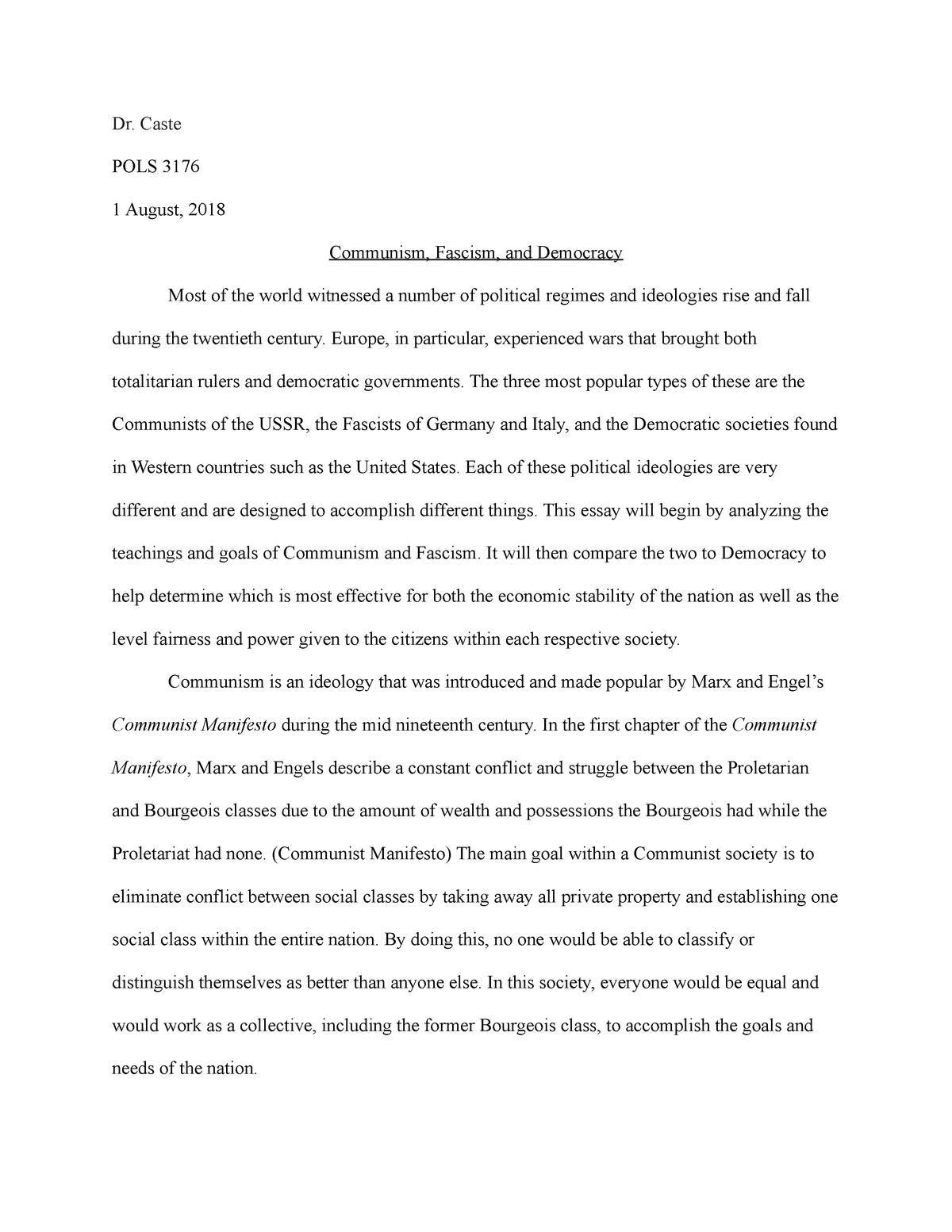 communist manifesto essay questions