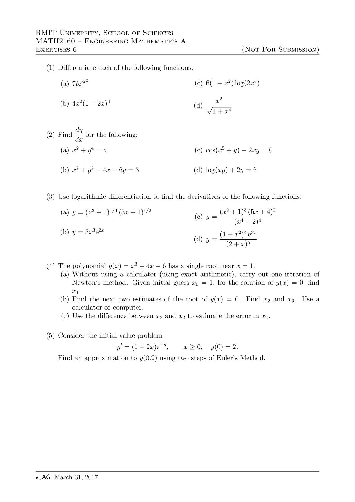 Exercises 6 - MATH2160 Engineering Mathematics A - RMIT