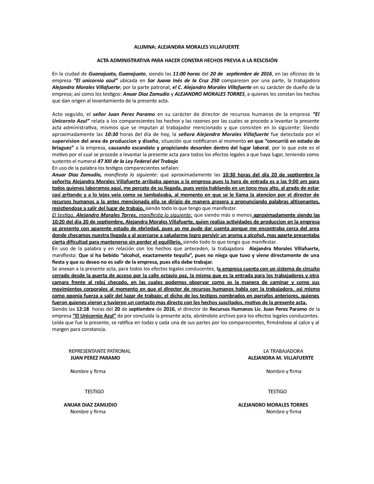 Acta Administrativa En Materia Laboral Jr151296 Ug Studocu