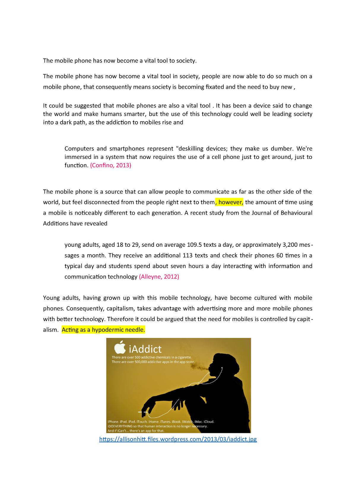 Mobile Phones Draft - AIC2103: Media Sociology and Media