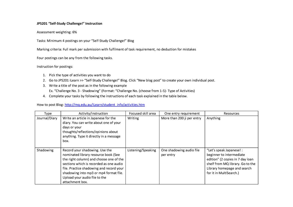 Self Study Challenge Instruction - JPS Japanese Studies - MQ