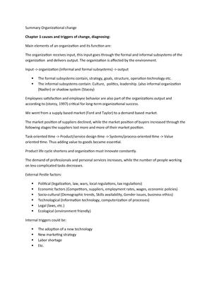 Summary Organizational change - EBB634B05 - StudeerSnel nl