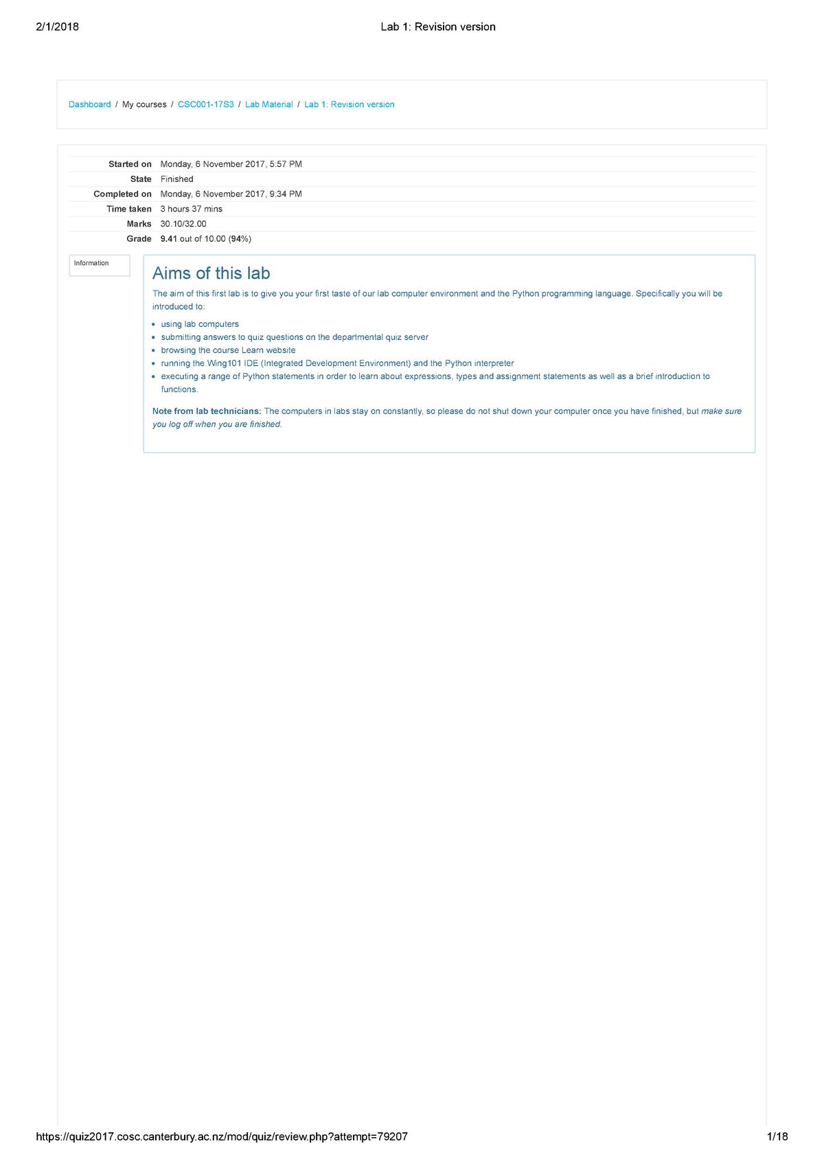 Lab 1 Revision version - COSC121 - University of Canterbury