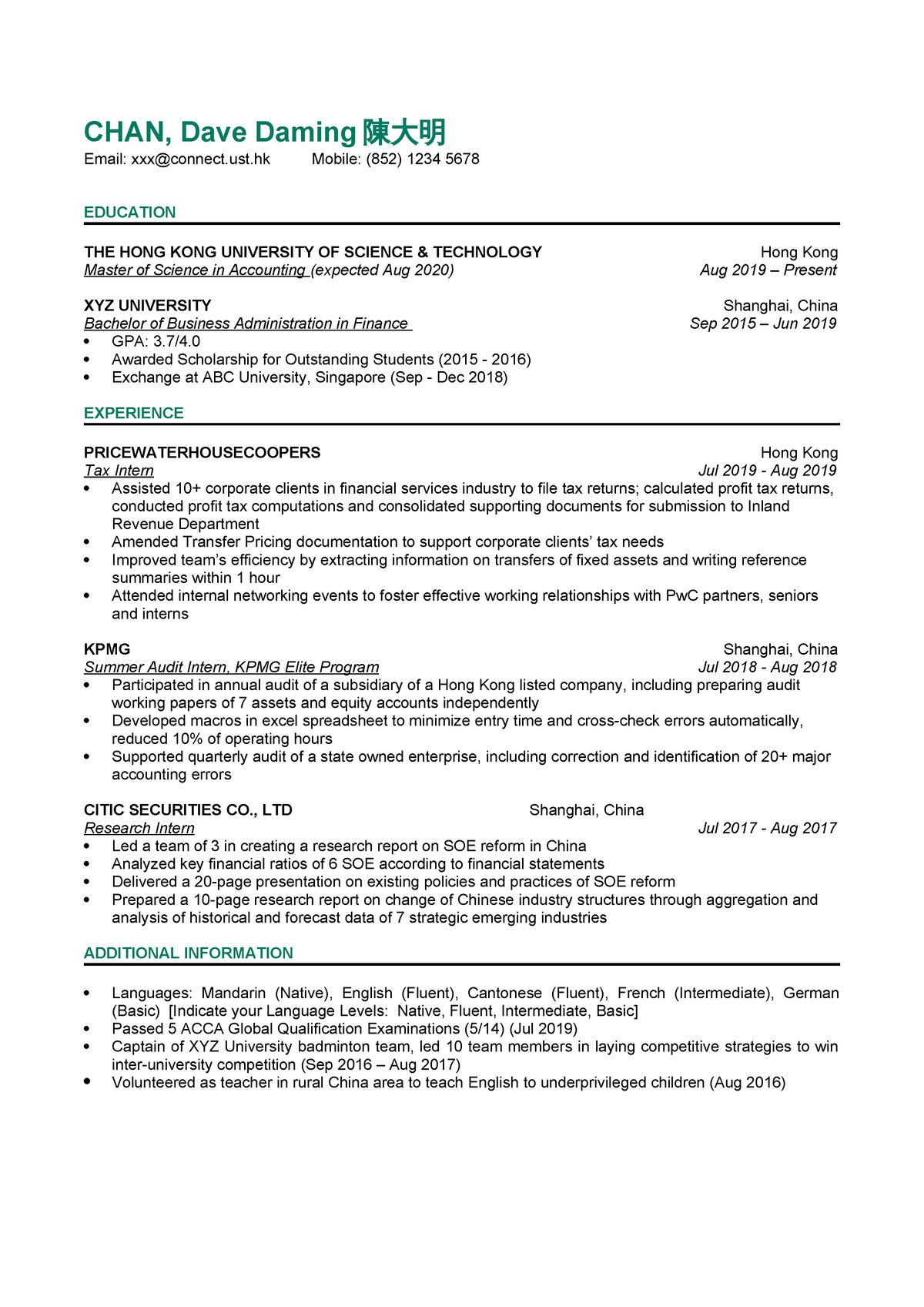 4- Resume Template - Career Building for Science Students
