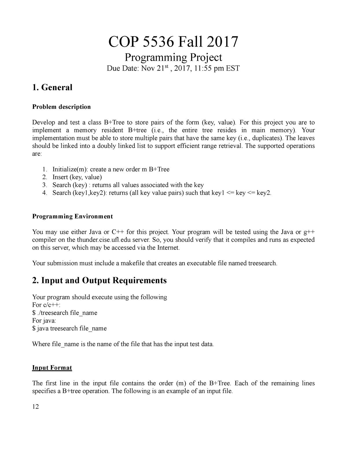 Project FA17 - COP 5536: Adv Data Structures - StuDocu