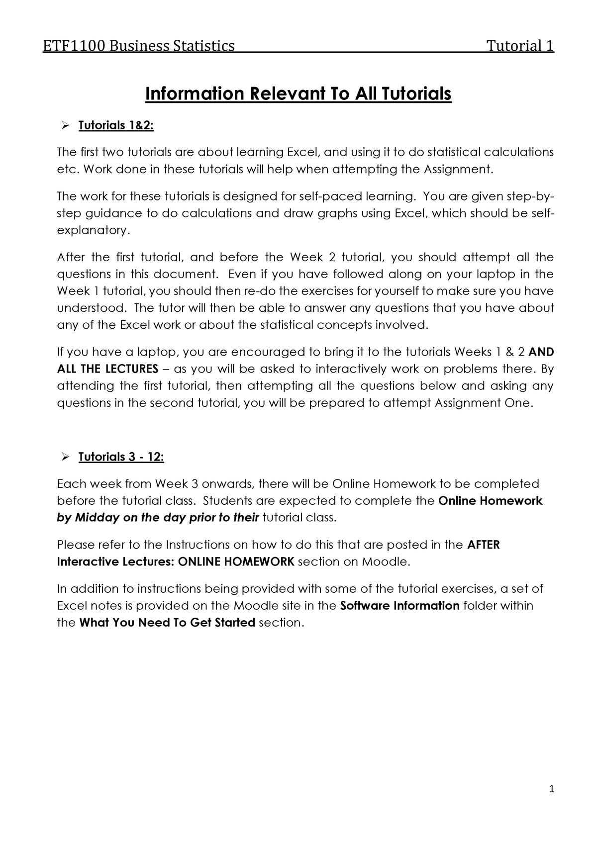 Tutorial 01 Questions - ETF1100: Business Statistics - StuDocu