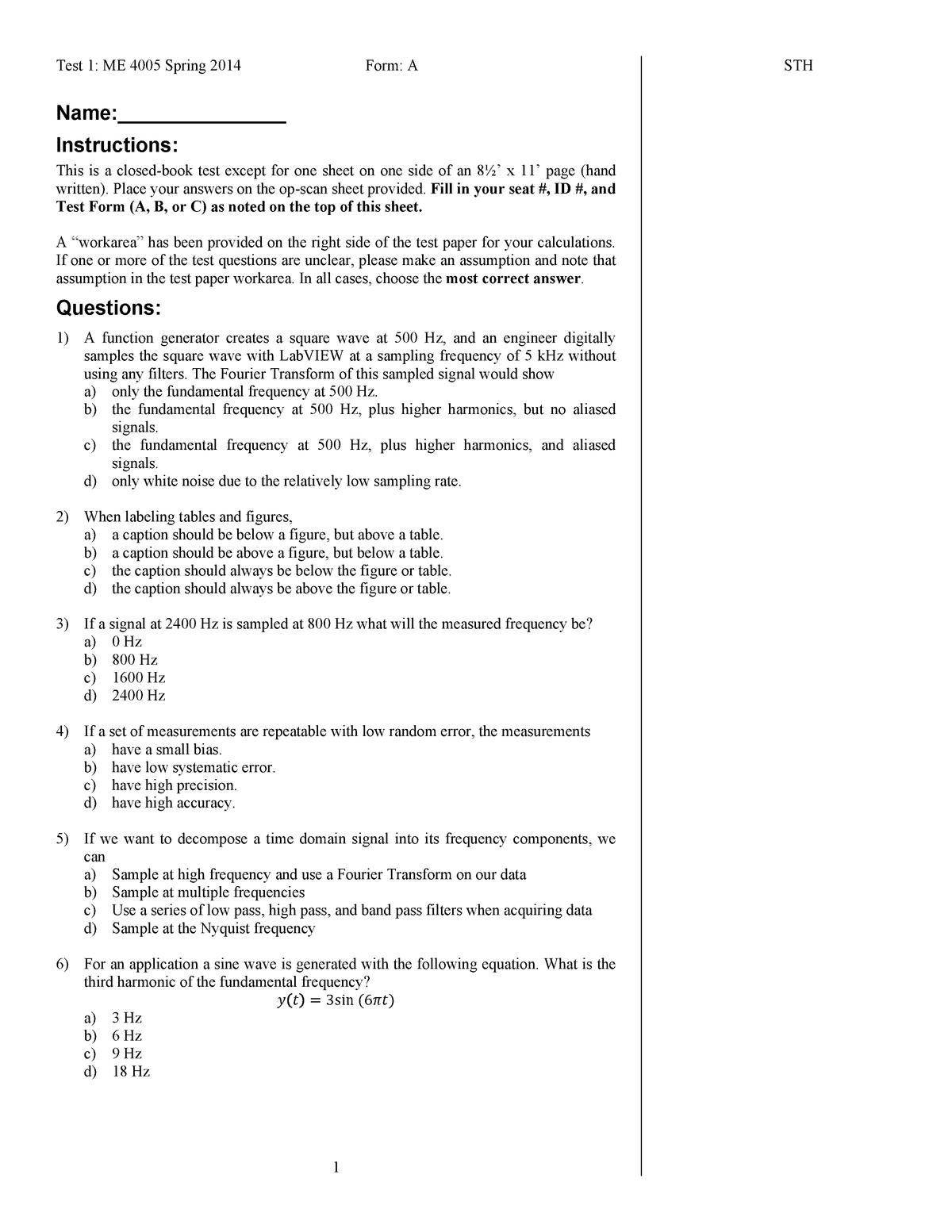 Exam 2014 - ME 4005: Mechanical Engineering Lab - StuDocu