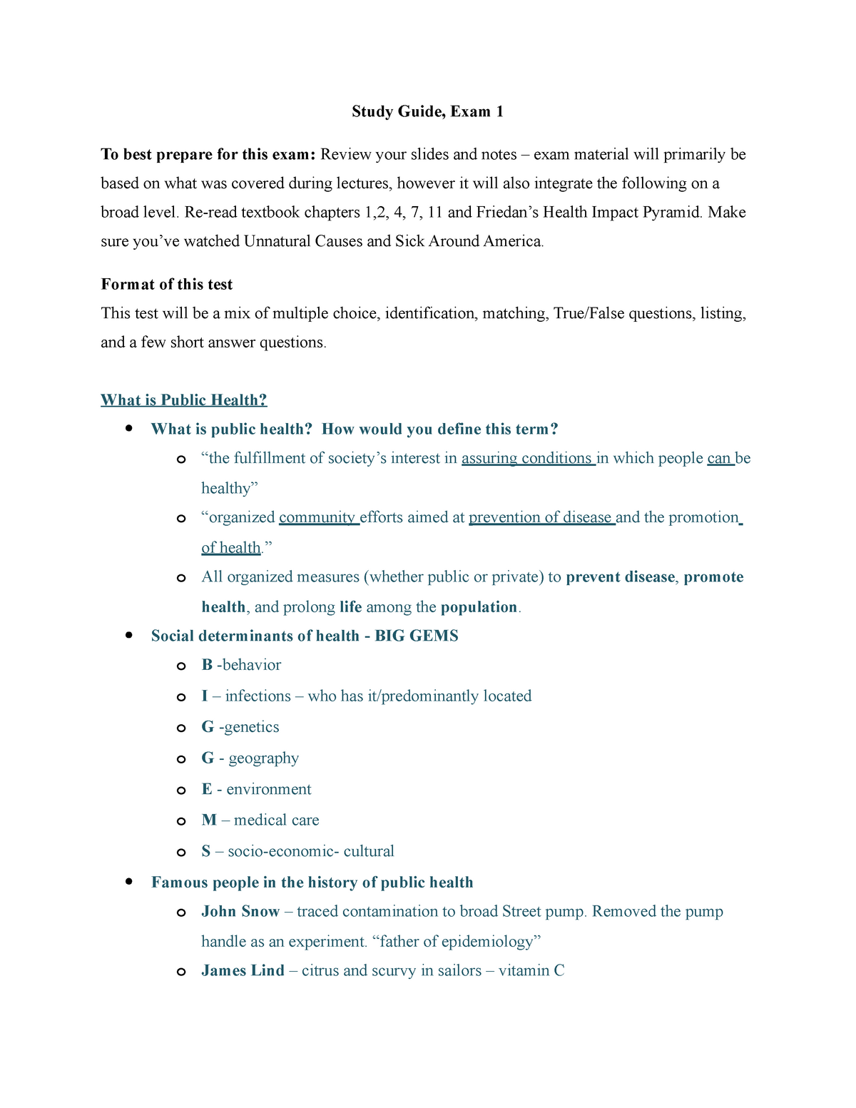 Study Guide Exam 1 - BPH 206 Introduction to Public Health
