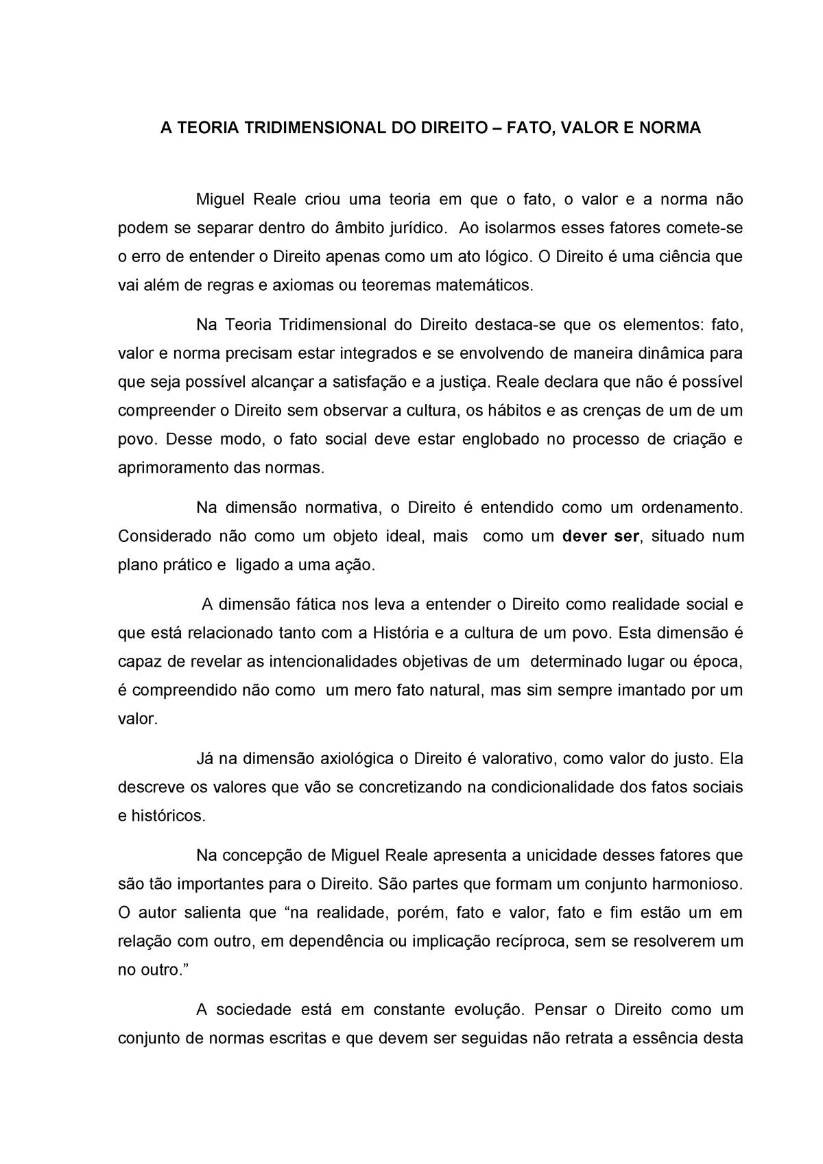 TRIDIMENSIONAL REALE DO TEORIA BAIXAR DIREITO DE MIGUEL