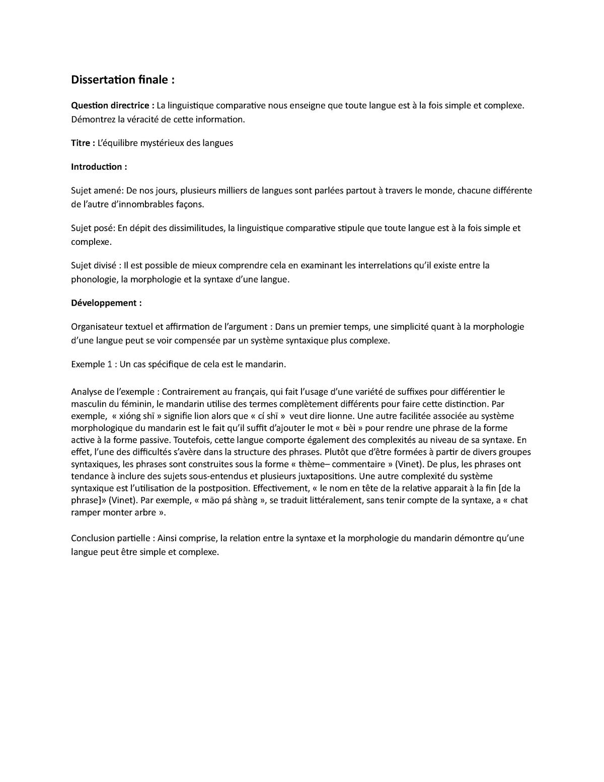 Dissertation Finale Fran 211 Question Directrice La Studocu Exemple Comparative Francais