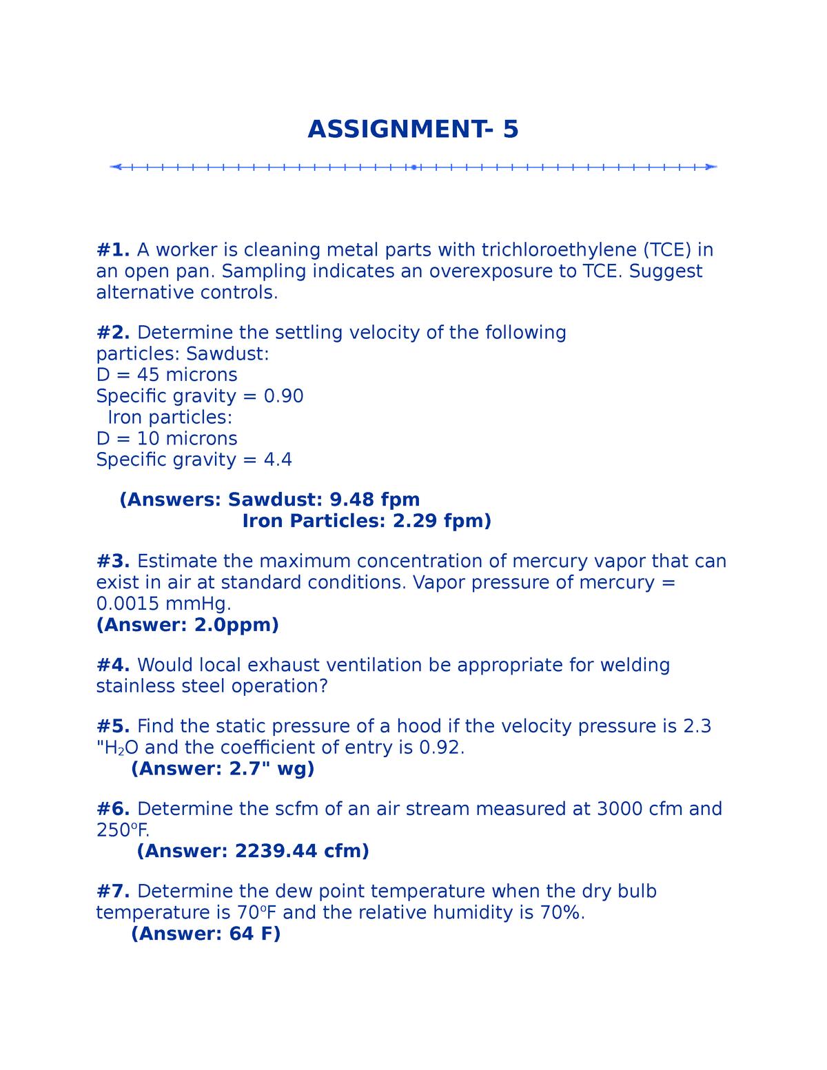 Assignment 5 - Ashok Kumar - CIVE 4670: Industrial Ventilation - StuDocu