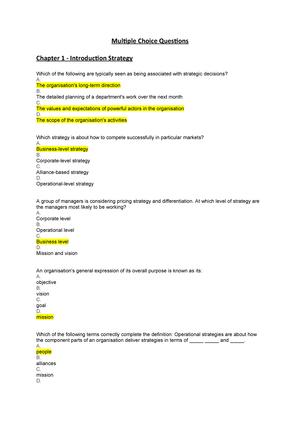 Multiple Choice Questions - MG3047: Strategic Management - StuDocu