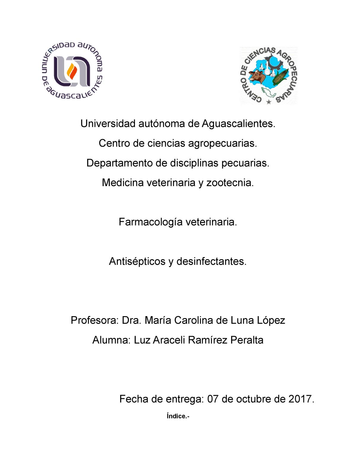 Antisépticos Y Desinfectantes Universidad De Aguascalientes Centro De Ciencias Studocu