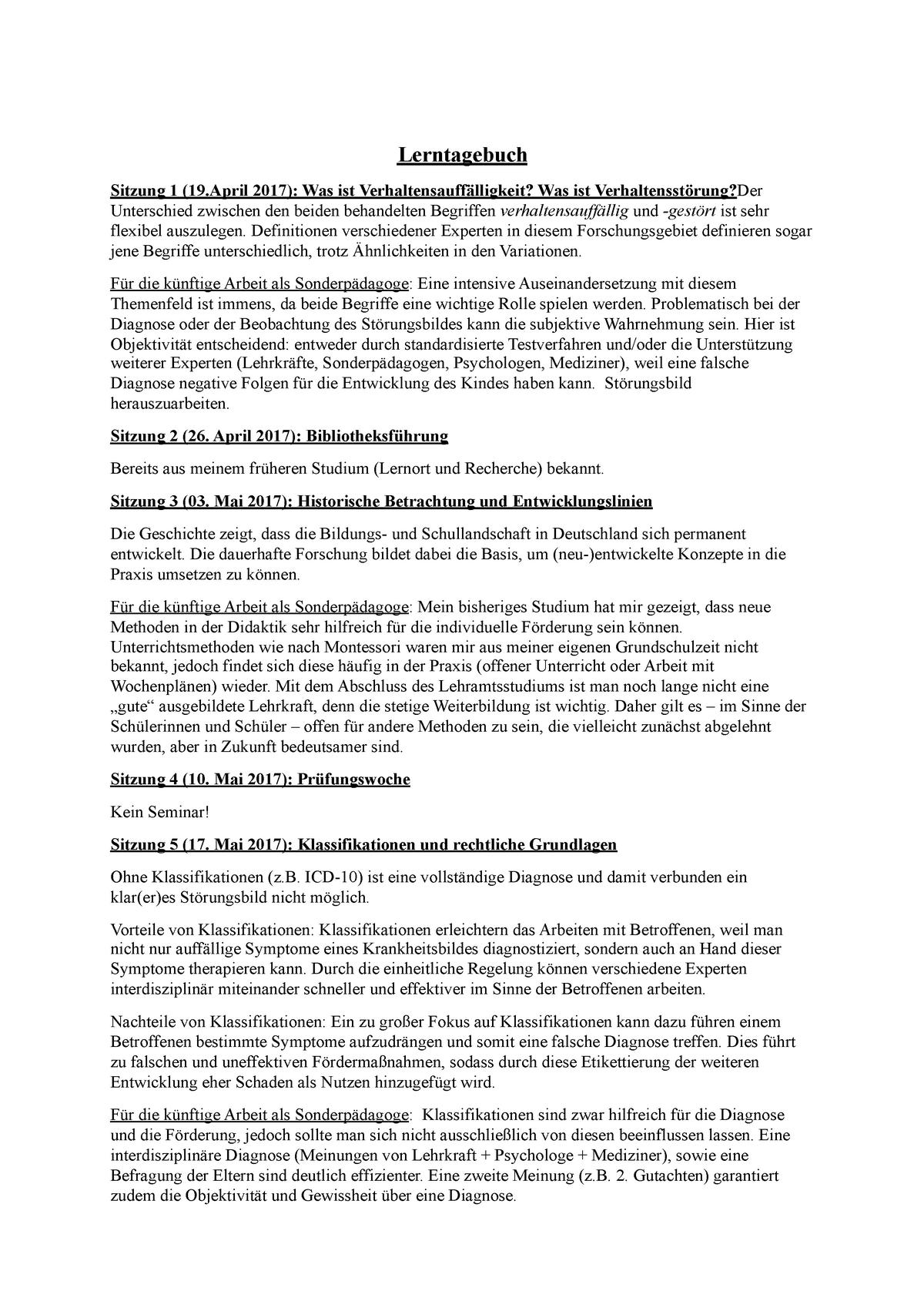 Lerntagebuch Uni Vorlage : Ausgewahlte Instrumente Zur Forderung Der Selbstreflexion In ...