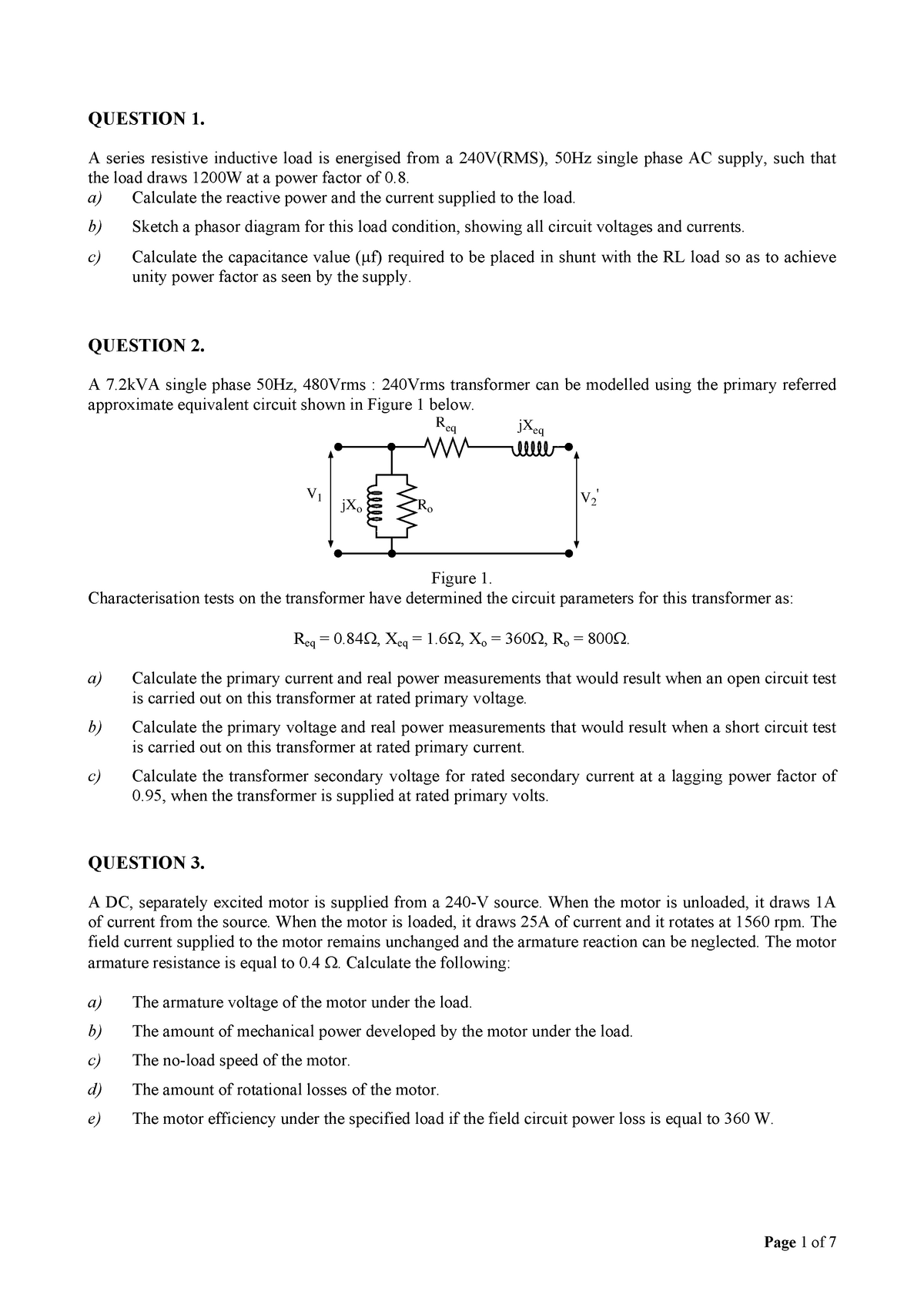 EEET2263 Sample Exam Style Questions - Electrical Plant